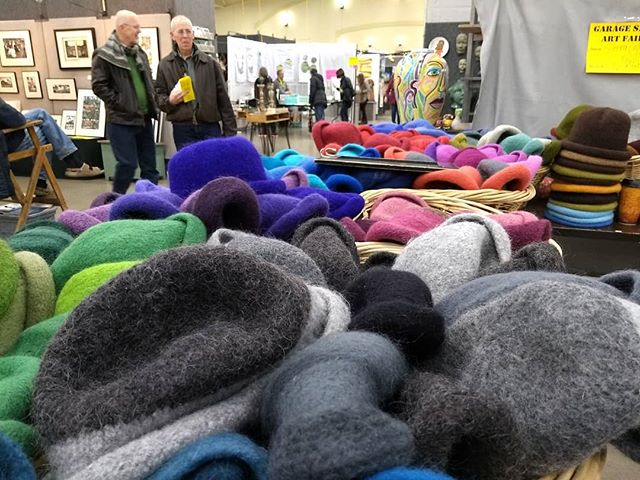 Booth full of hats and balls at Garage Sale Art Fair! Today till 4pm. Plus next to my favorite potter, @edswareart.