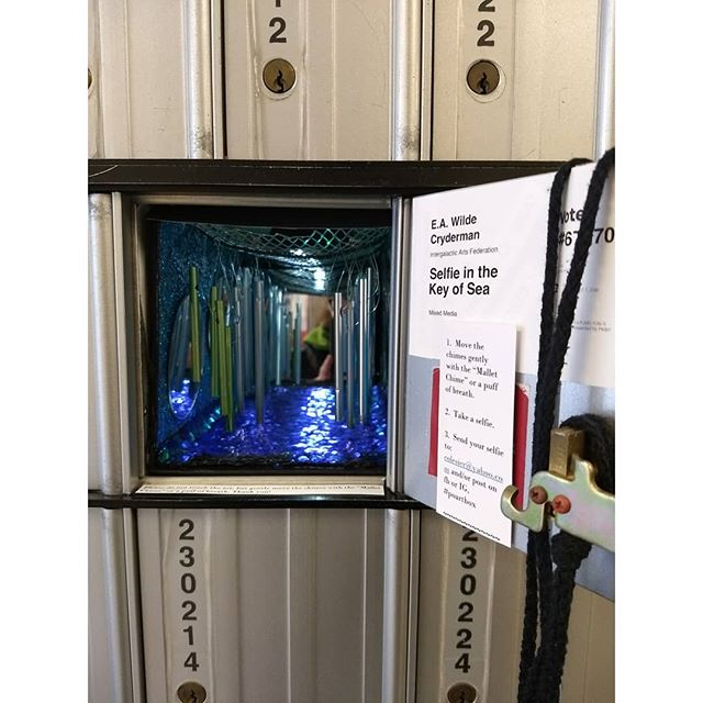 "Showing inside the Post Office is E.A. Wilde Cryderman with ""Selfie in the Key of Sea"" an interactive diorama."