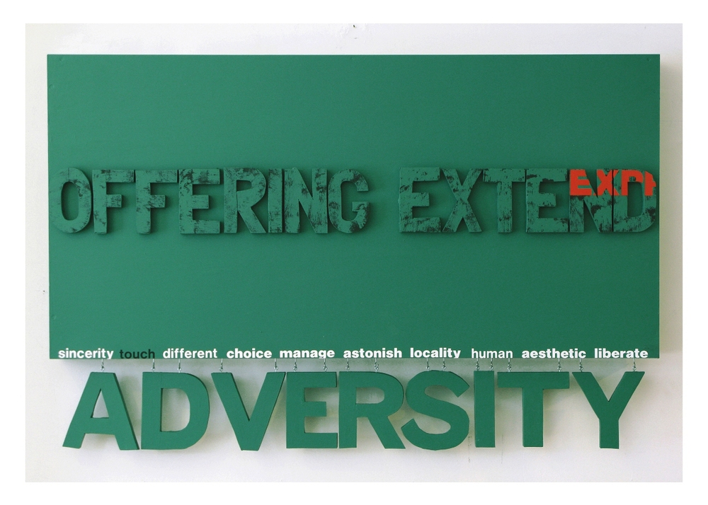 Adversity (hanging wall series), green  30'' x 48''  Mixed media