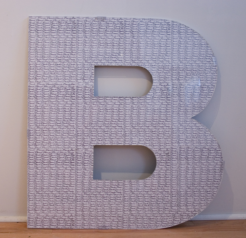 "I've Gotcha Covered A-Z, 2011  dimensions vary 30"" x 30"" x .5""  paper, ink, wood, plexi  letters A-Z available"