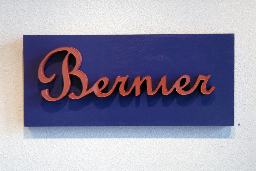 "Bernier Plaque  27"" x 12""  Wood, Xerox paper"