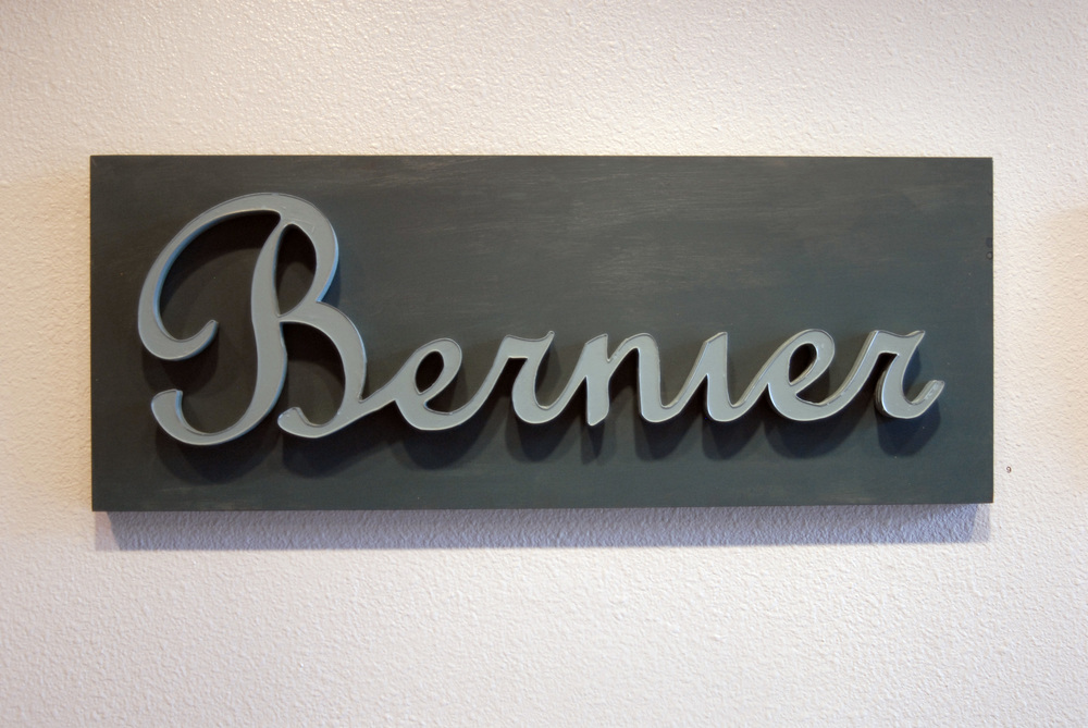 "Bernier Plaque  12"" x 27""  Wood, Xerox paper"