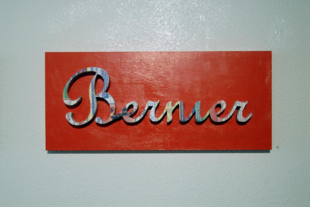 """Bernier Plaque  12"""" x 27""""  Wood, Xerox paper"""