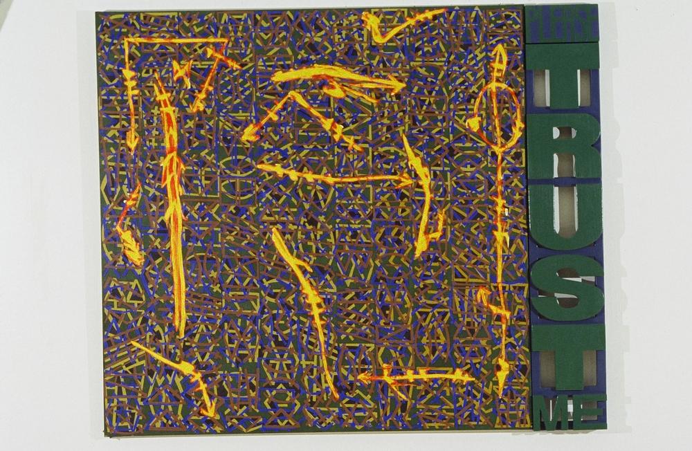 "Please Trust Me (Graffiti Series), 1993  66"" x 78""  Acrylic on canvas"