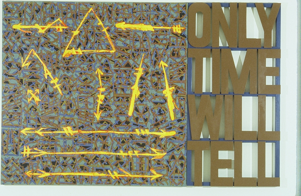 "Only Time Will Tell (arty fax series)  82"" x 64""  Wood and acrylic on canvas"