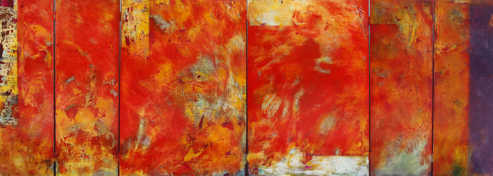 "Passion Giving Birth to Itself  36"" x 96""  Mixed media on panel"