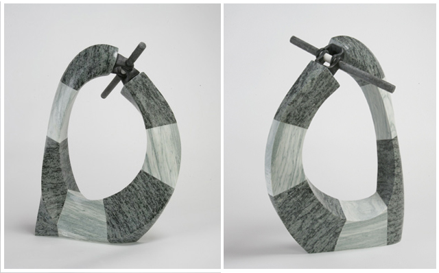 "Confrontation  16"" x 10"" x 24""  Cippolino, green and black granite, yule marble, steel"