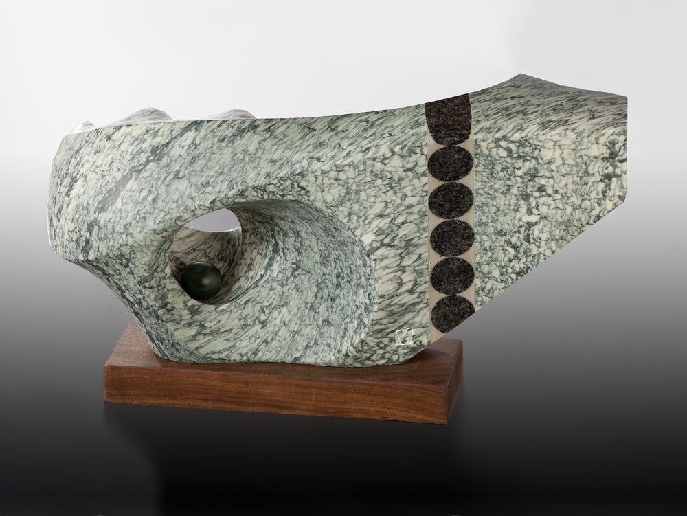 "What to Expect  22"" x 8"" x 11.5""  Verde campon marble (France), granite, jade"