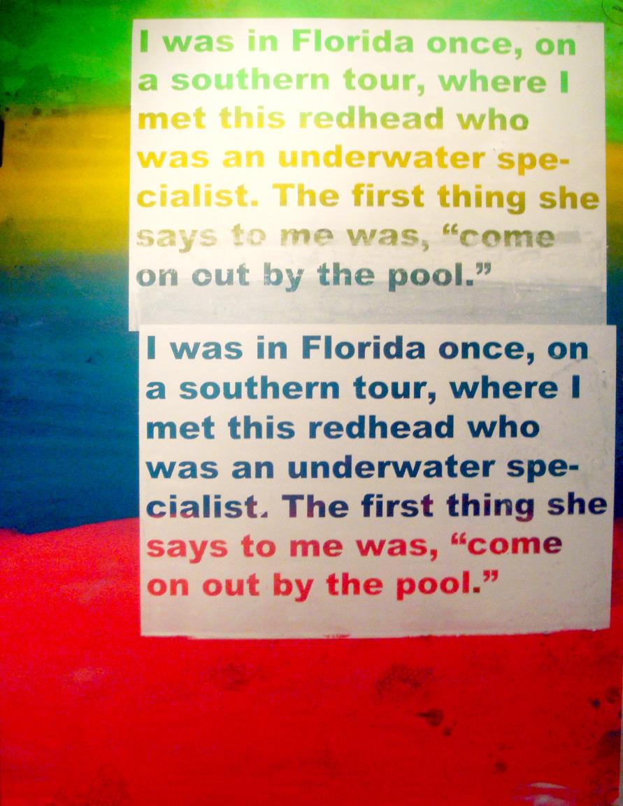 "Southern Tour #1, 2012  Oil, silkscreen, inkjet on canvas  48"" x 64""."