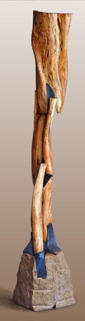 """Eonic Rhythms  Beach wood, limestone, and steel  89"""" x 65"""" x 14"""""""