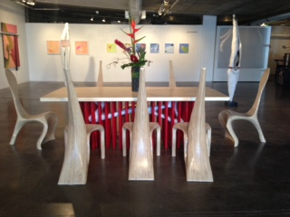 "Beneath the Surface, table 8'x42""x31""  douglas fir, milk paint, powder coated steel     Crane, end chairs 45x19x24  Douglas Fir and walnut"