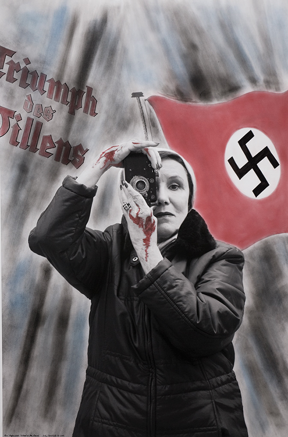 "Lenis Refenstahl--""Hitler's Cineaste, Blood on her Hands,"" from the ""Myselfportraits Ode to Icons"" Series  Archival carbon pigment print  35.5"" x 23.5"""