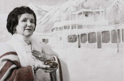 "Mabel Dodge Luhan--""Tony Introduced Me to Taos, I Introduced Him to Money"" from the ""Myselfportraits, Ode to Icons"" Series  Archival carbon pigment print  35.5"" x 23.5"""