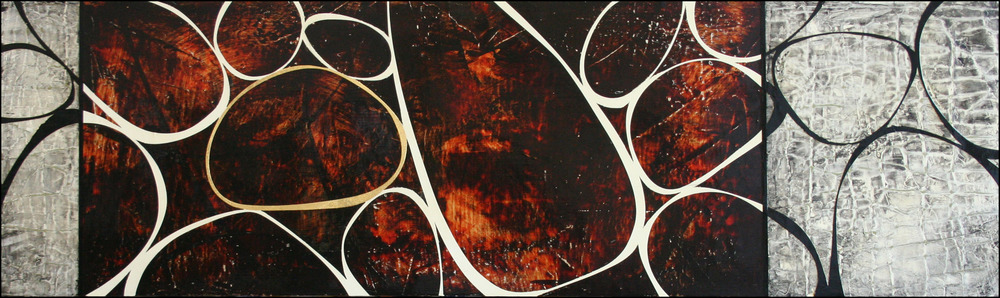 "The Gathering 11  Mixed media on panel  18"" x 60"""