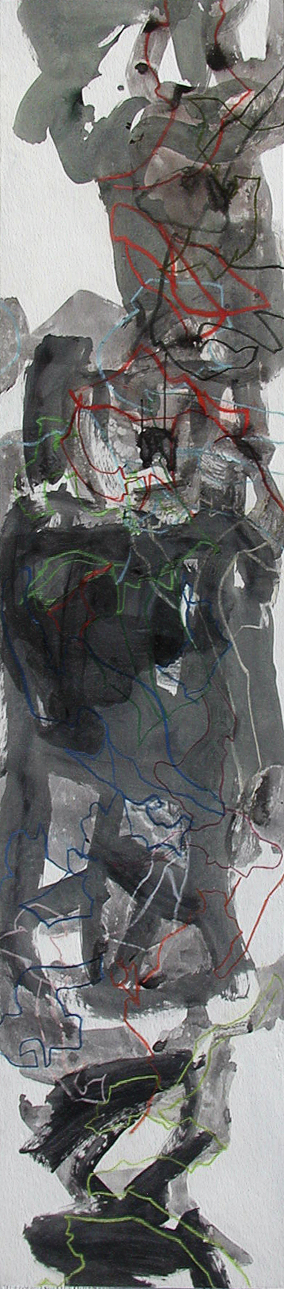 Graces #3  mixed media on panel  96 x 20