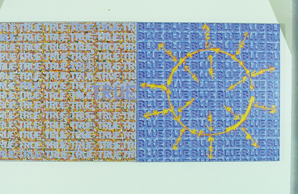 "True Blue,1992/3  60"" x 120""  Mixed media"