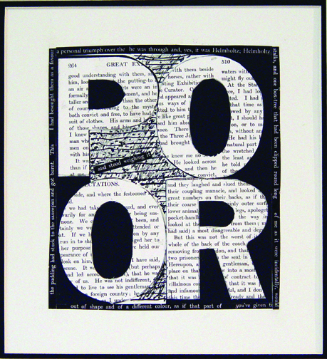 "POOR, 2008 (4 Letter Words Series)  15"" x 12""  Xerox transfer on paper"