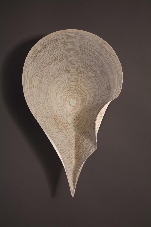 "STRATUS: PILEUS    33"" h x 20"" w x 11"" d    Laminated plywood, white pickling"