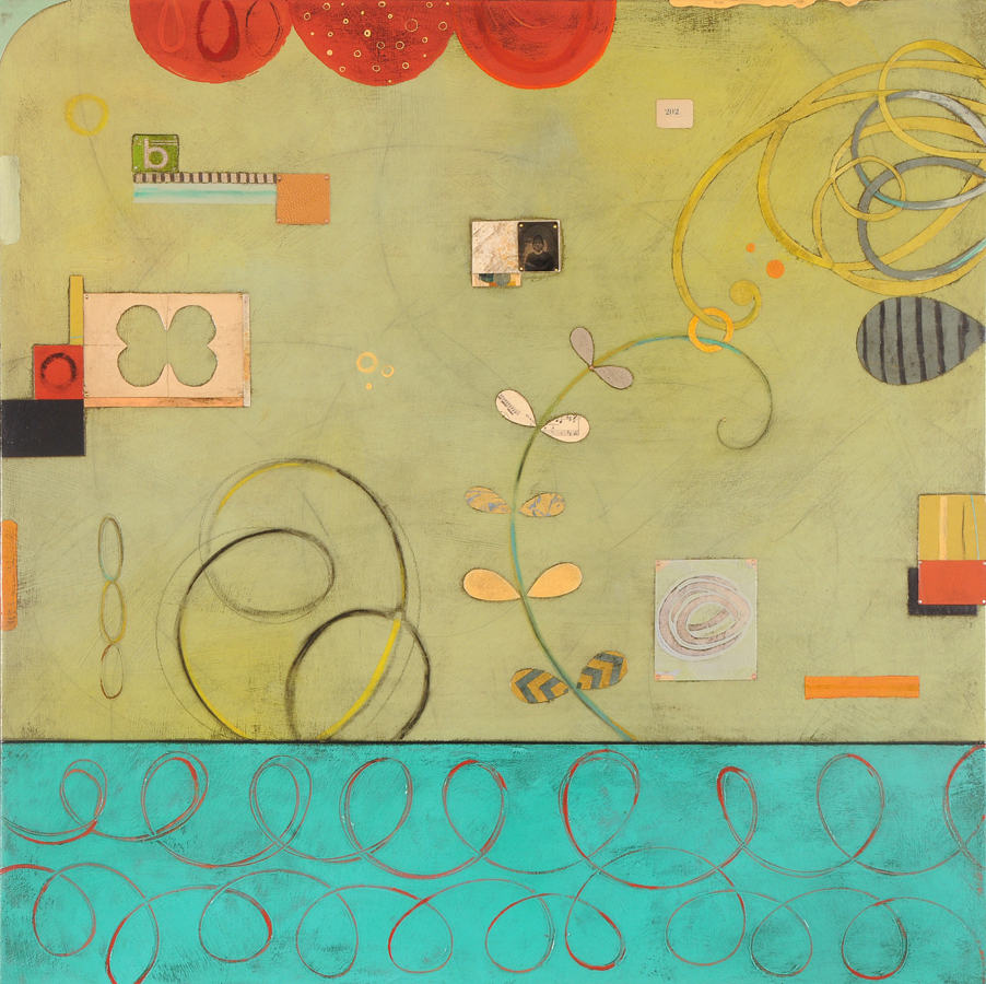 "Aida's Garden  Mixed media on panel  36"" x 36"""