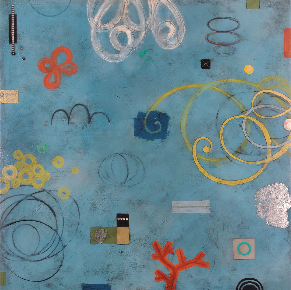 "Ocean Skies  mixed media on panel   48"" x 48"""