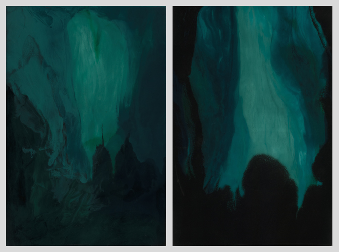 "Moirai #1 and #2 (diptych)   resin and acrylic paint  24"" x 36"" each"