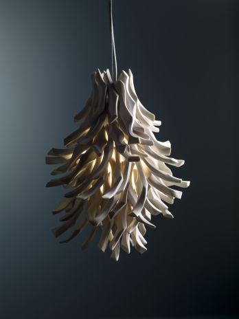 "Liz Quan  ""White Coral"" Medium Pendant  12""x15"", 10 lbs  high fired porcelain, wired light pendant"