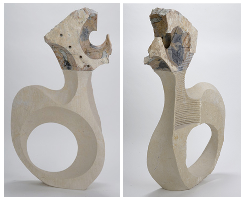 "Vanessa Clarke  ""Play Another Song""   24""x10""x47""   picasso marble, silverdale, limestone, black granite"