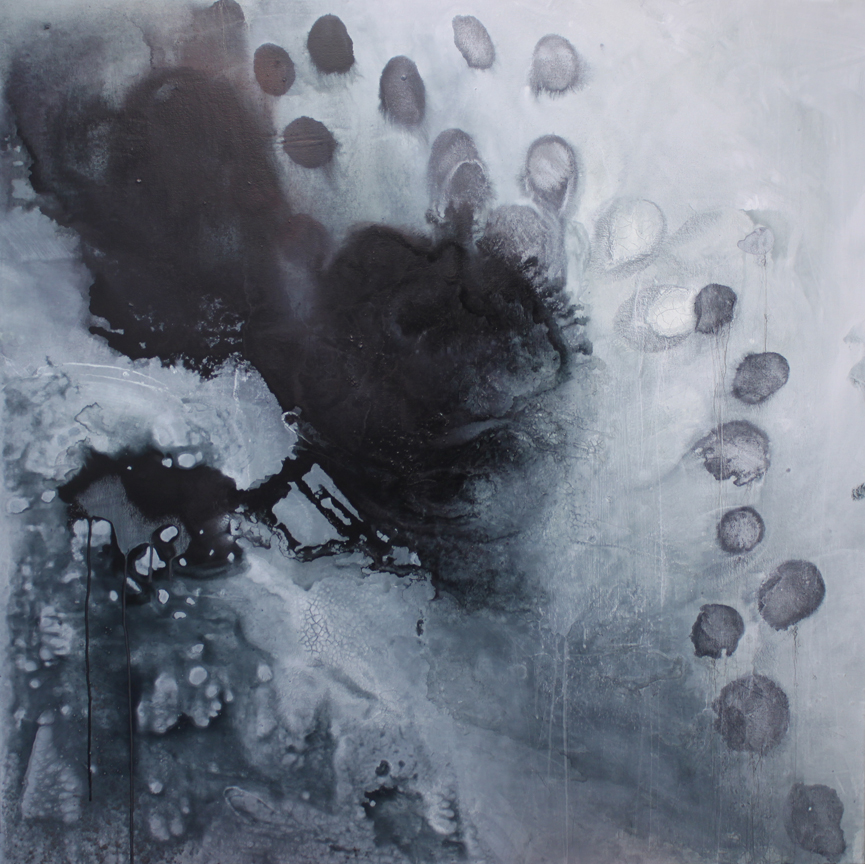 Pollination  48x48  ink, acrylic, powdered graphite, charcoal on canvas