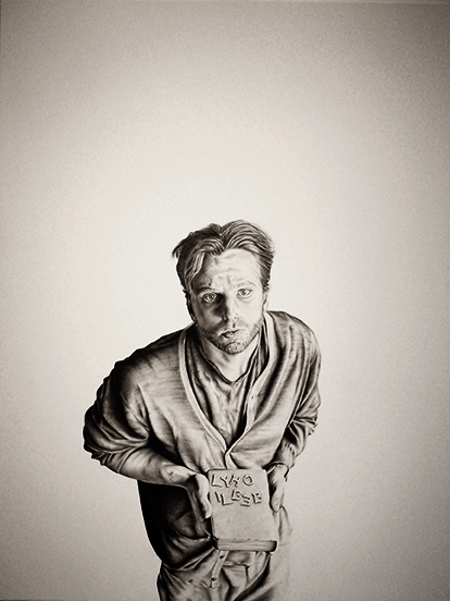 "The Kid, aka The Bastard Son of Bill and Cormac  Graphite on mounted paper  38"" x 50"""
