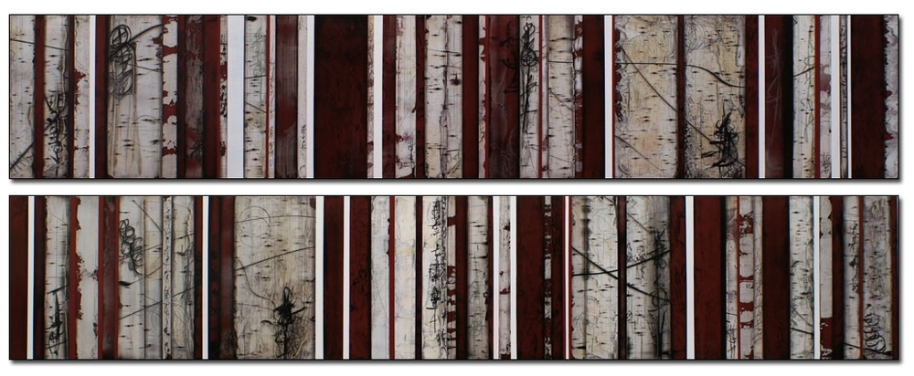 "Claret  Mixed media  16"" x 84"" each"