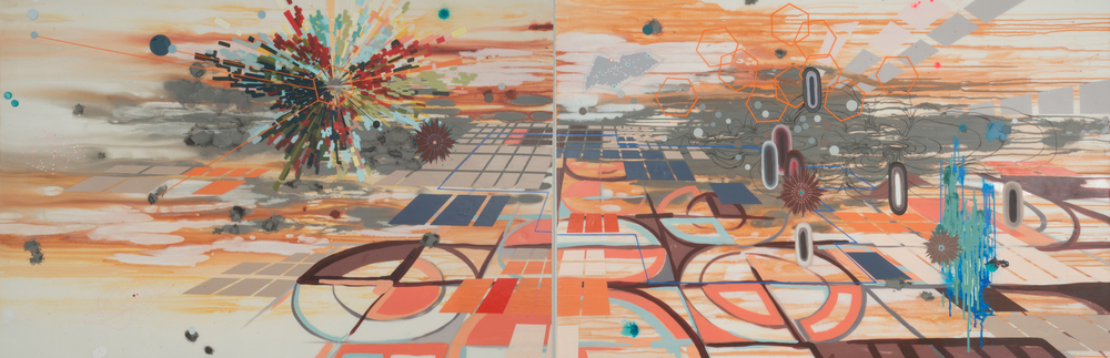 "Charted Territory  mixed media on panel (diptych)  43"" x 130"""