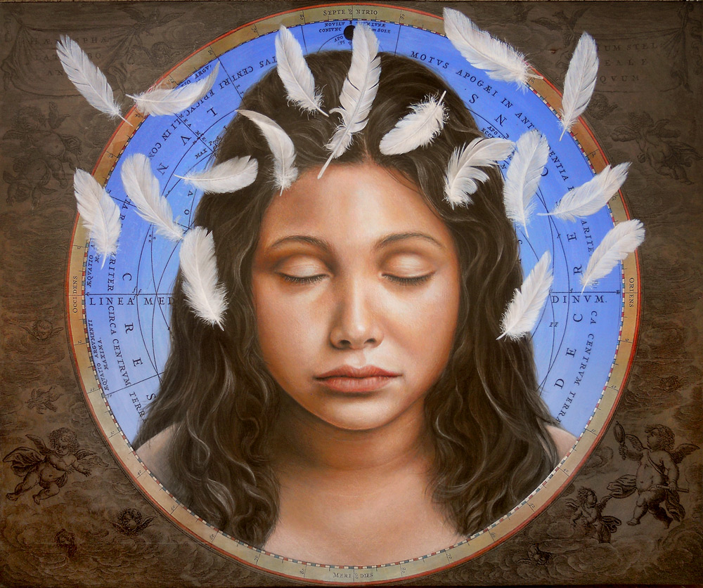 "Anointed  acrylic, colored pencil, gel transfer on wood panel  24"" x 29"""