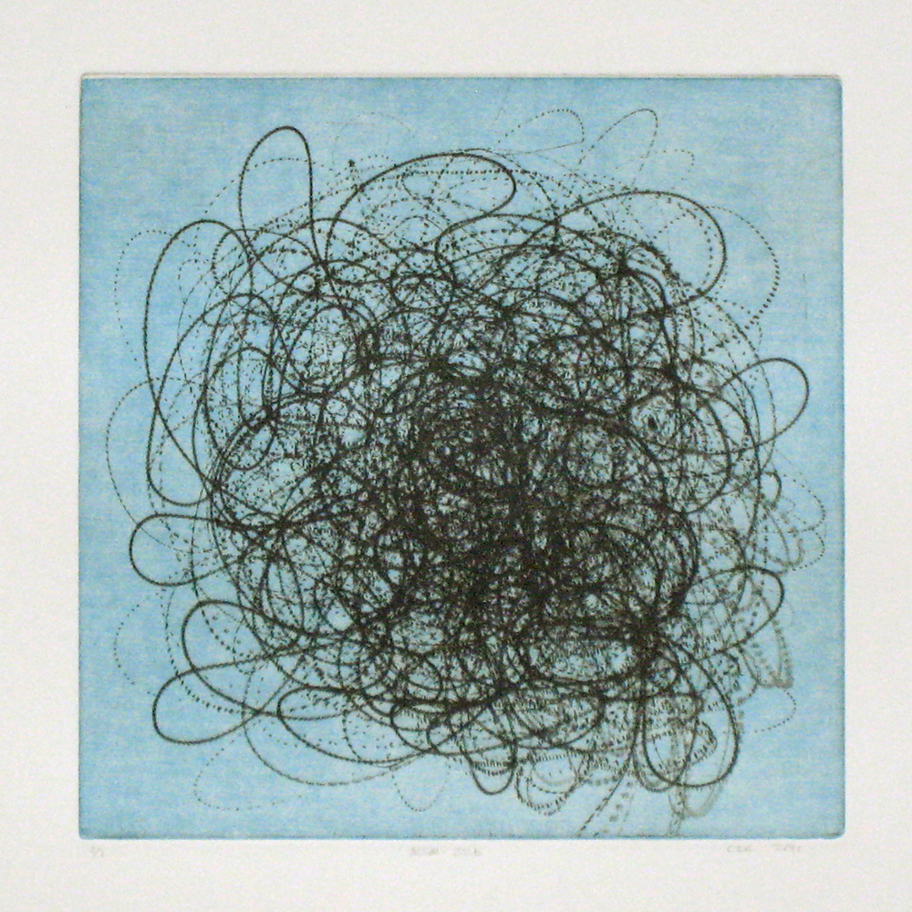 MSM-22b (blue)  Intaglio: etching, drypoint and aquatint  12 x 12 in.