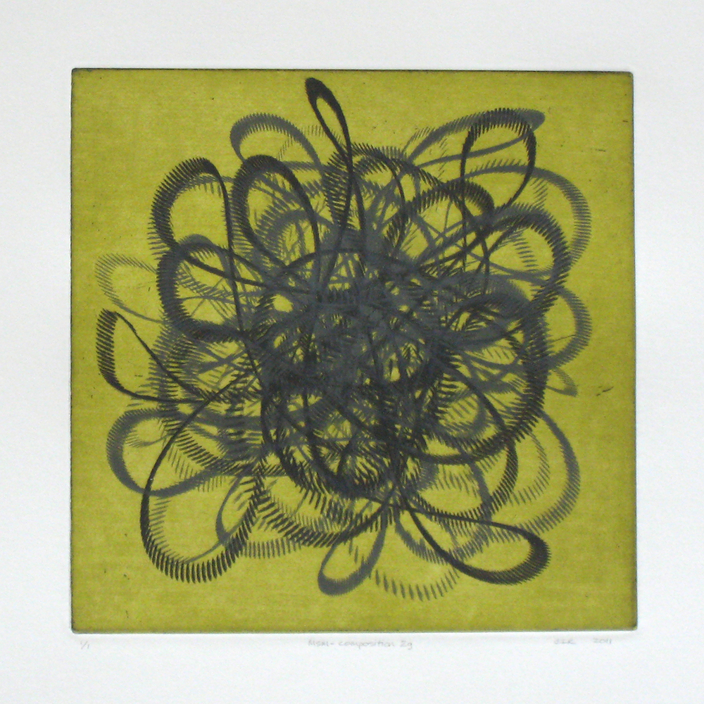 MSM-composition 2g (green)  Intaglio: etching and aquatint  12 x 12 in.