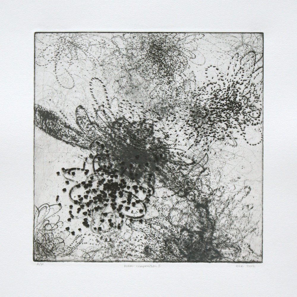 MSM-composition 3 (b&w)  Intaglio: etching and drypoint  12 x 12 in.