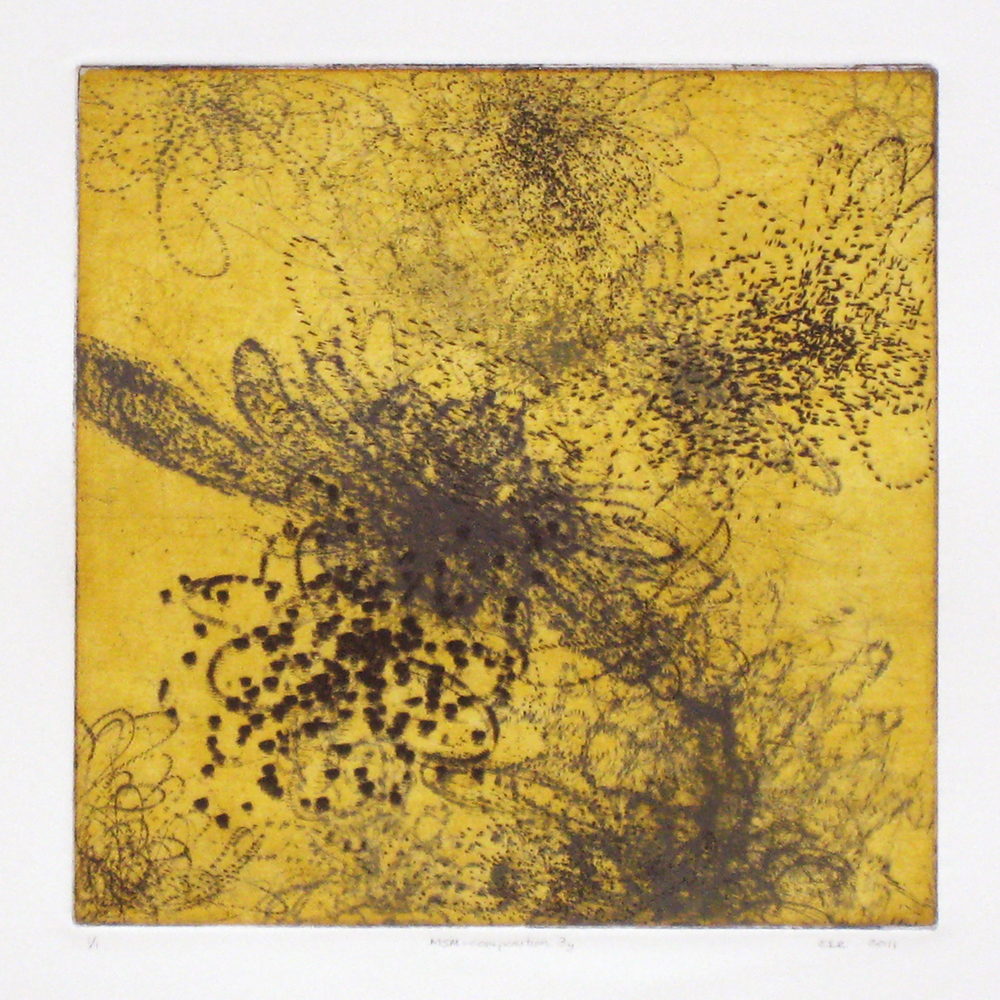MSM-composition 3y (yellow)  Intaglio: etching, drypoint, and aquatint  12 x 12 in.