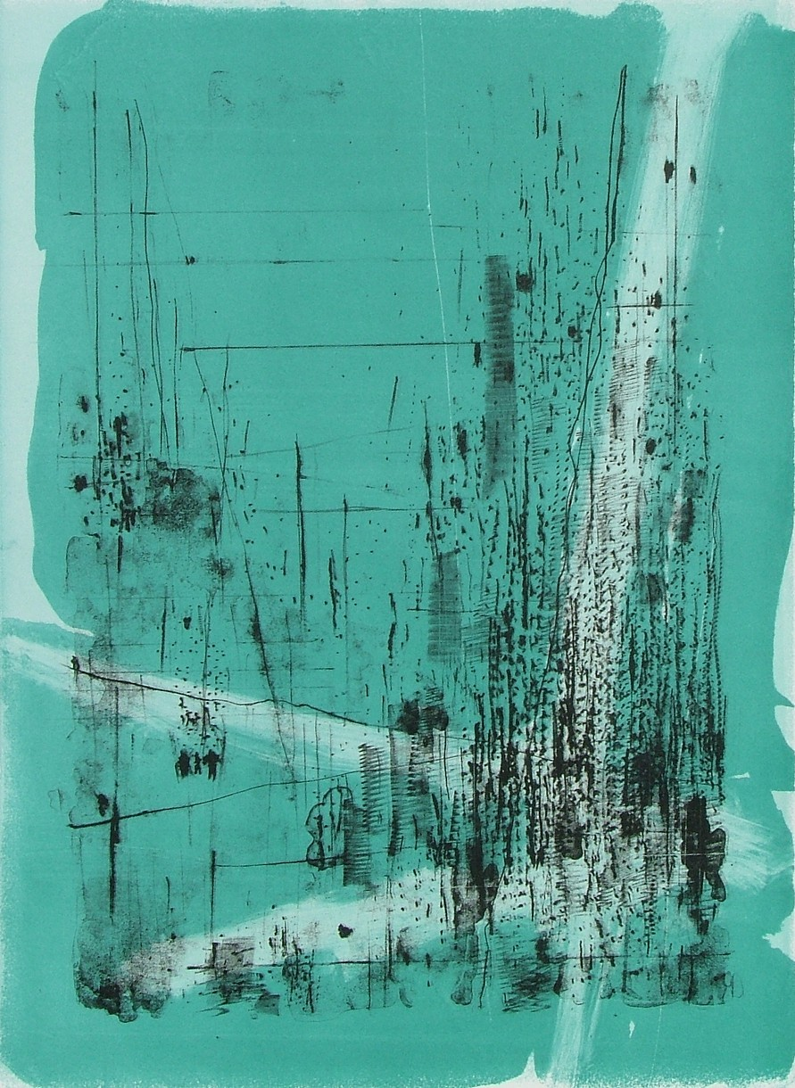 """untitled 3 - from frogman's  lithograph w/ monoprint  17"""" x 23.5"""""""
