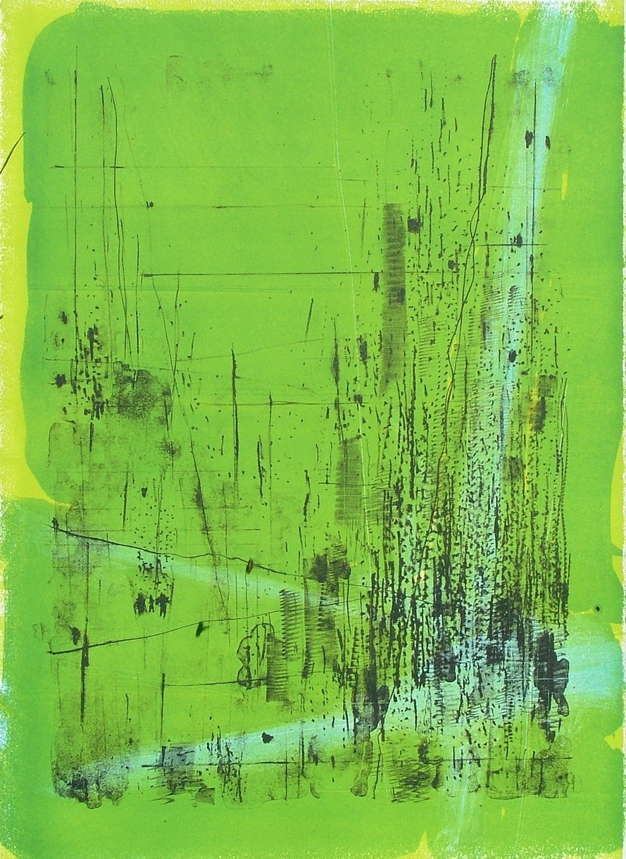 "untitled 4 - from frogman's  lithograph w/ monoprint  23.5"" x 17"""