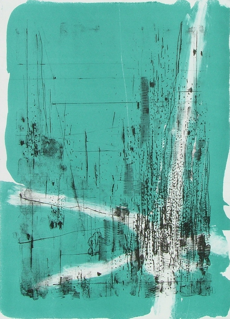 """untitled 5 - from frogman's  lithograph w/ monoprint  17"""" x 23.5"""""""