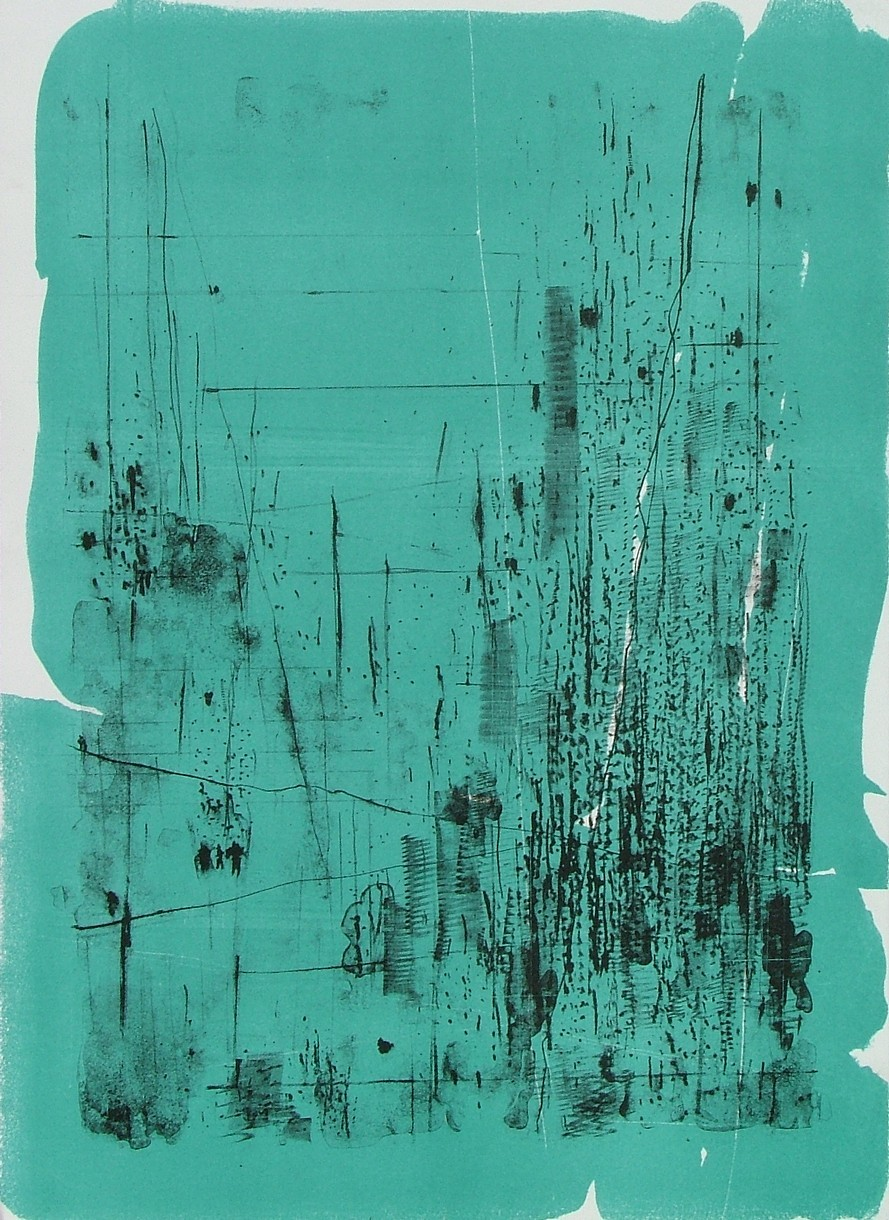 """untitled 7 - from frogman's  lithograph w/ monoprint  17"""" x 23.5"""""""