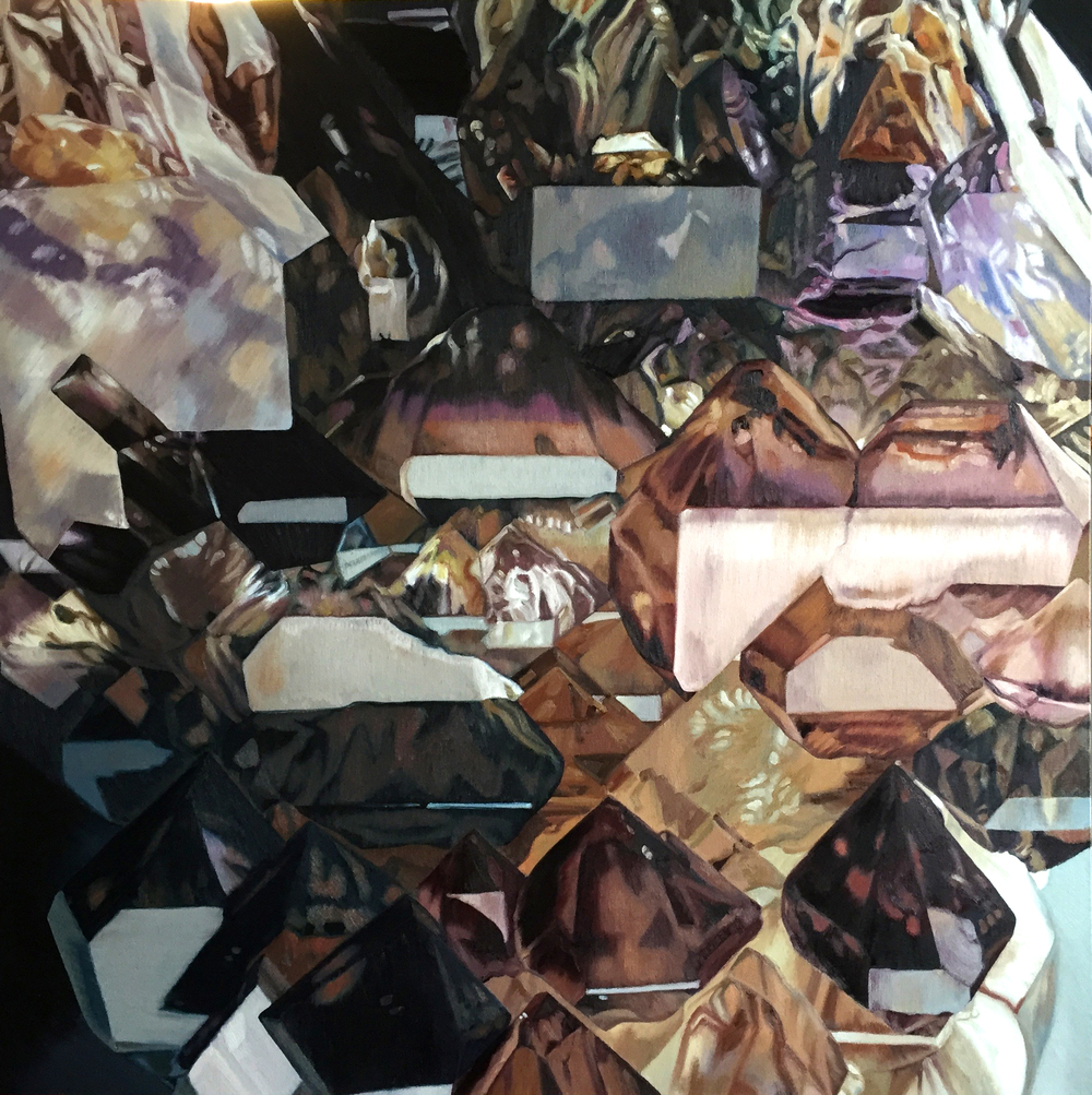 Elestial Growth Smokey Quartz with Amethyst Zoning  oil on canvas  48x48