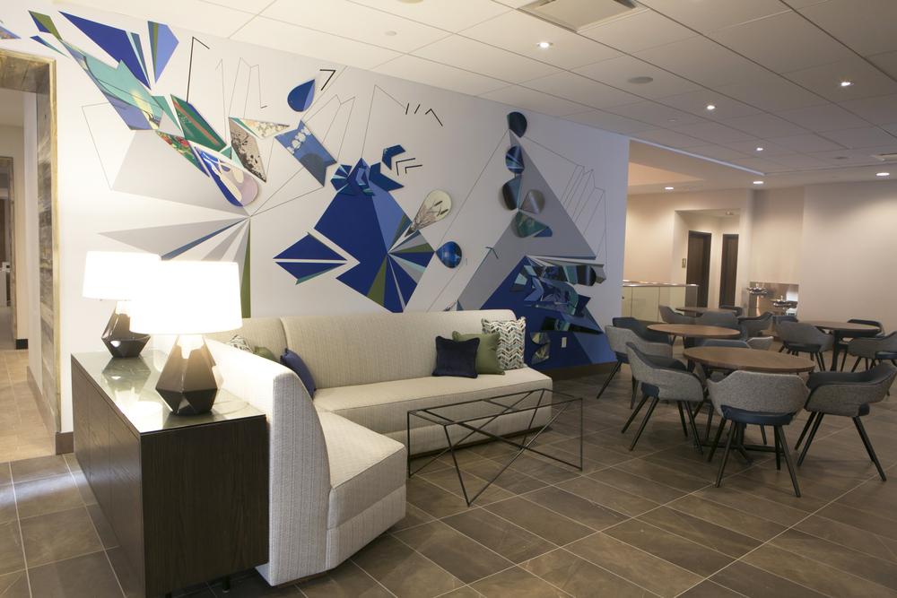 Hyatt Place Hotel, Denver. Forse Art Consulting. Photography: Sabin Aell. Installation Artist: Sabin Aell.