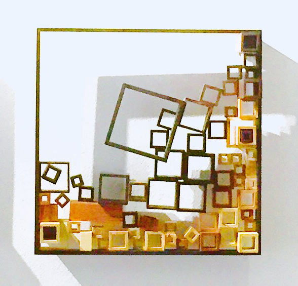 "Lee Heekin  ""Gridscape 3""  wood, 30x30"