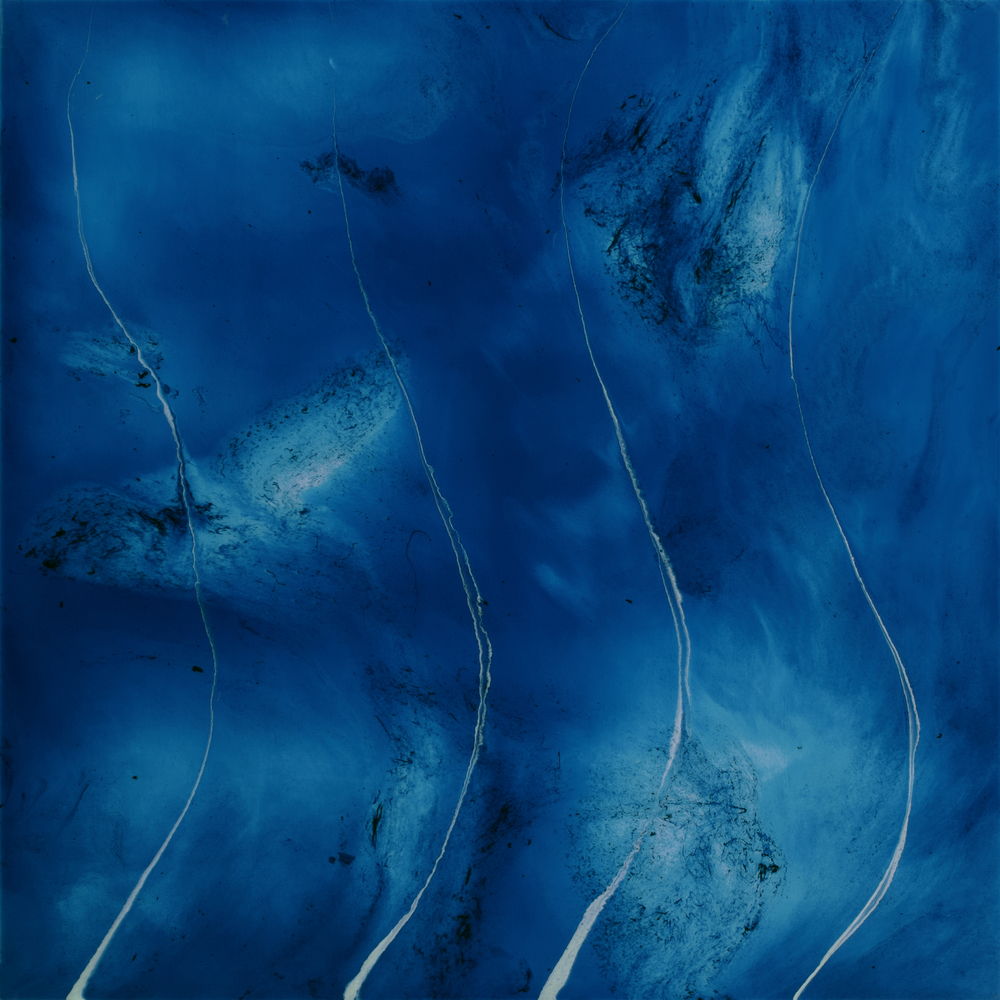 "Blue Galaxies  resin & acrylic on panel  36"" x 36"""