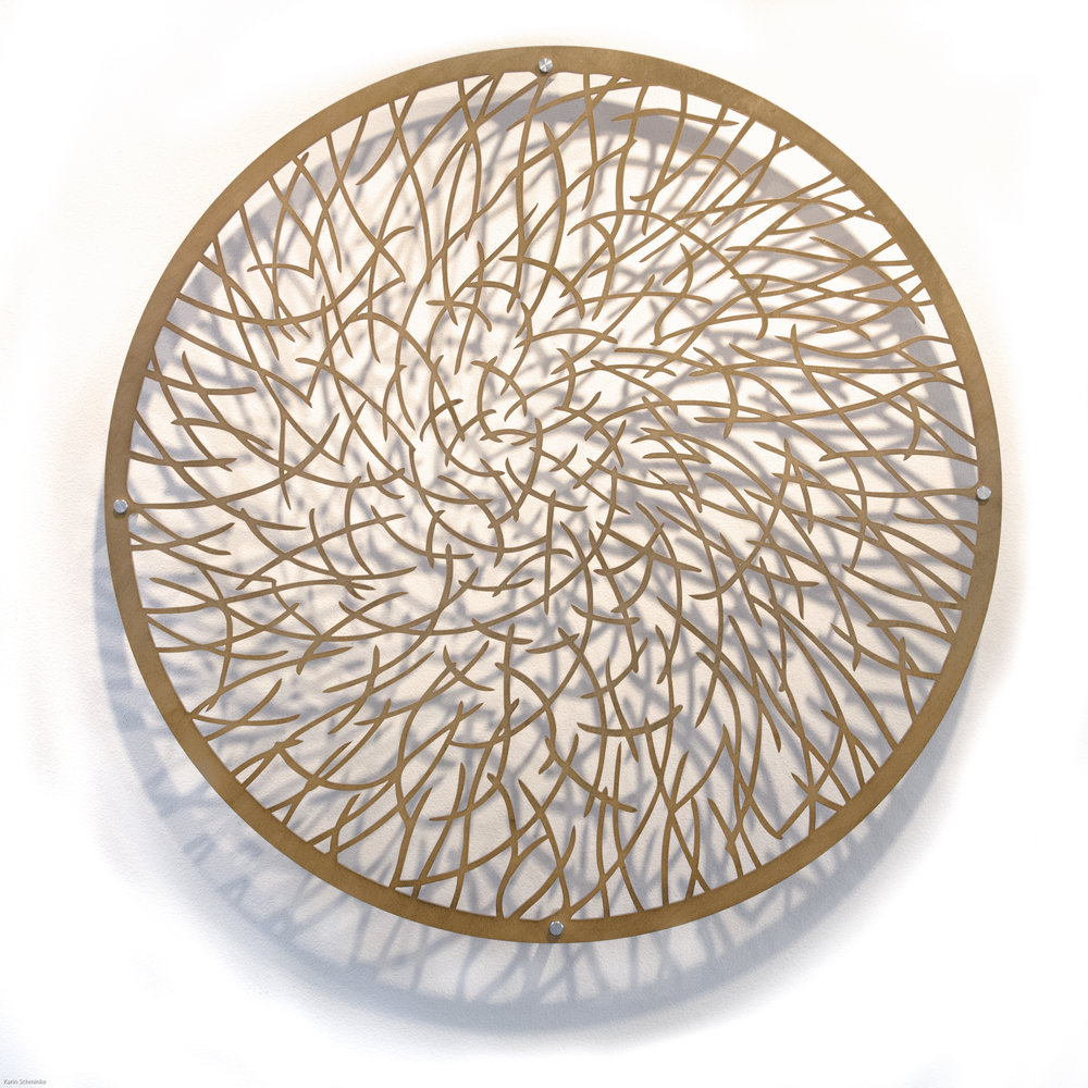 "Karin Schminke  ""Light Pond 1""  Baltic Birch  36"" diameter"