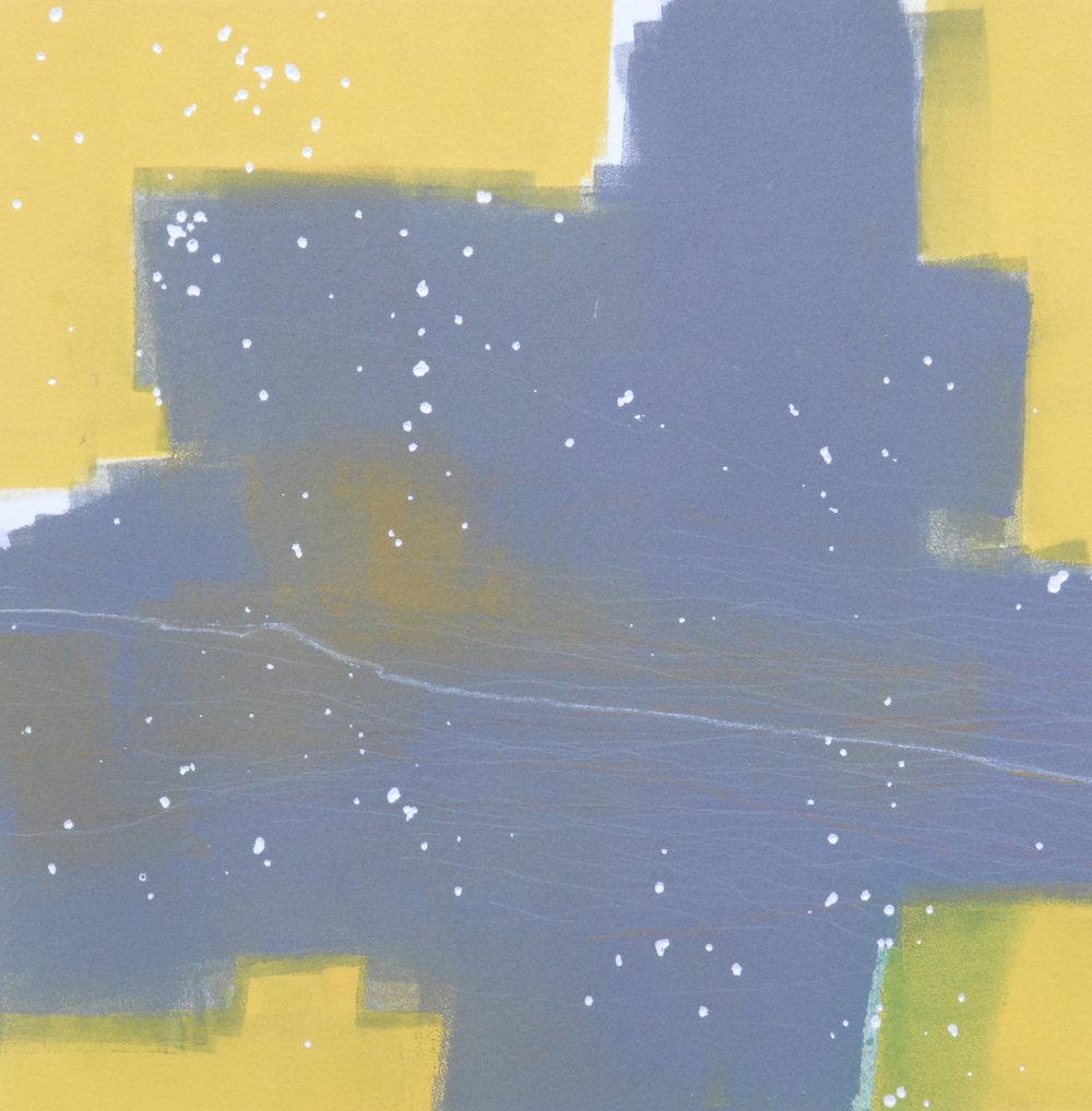 Mono 17  monoprint  10x10 image on 11x14 paper