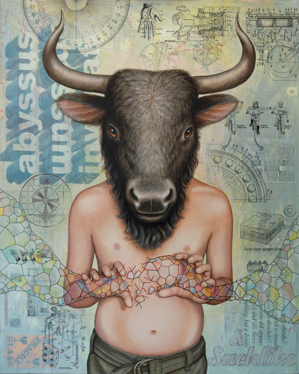 Minotaur, 2016  mixed media on panel  45x36