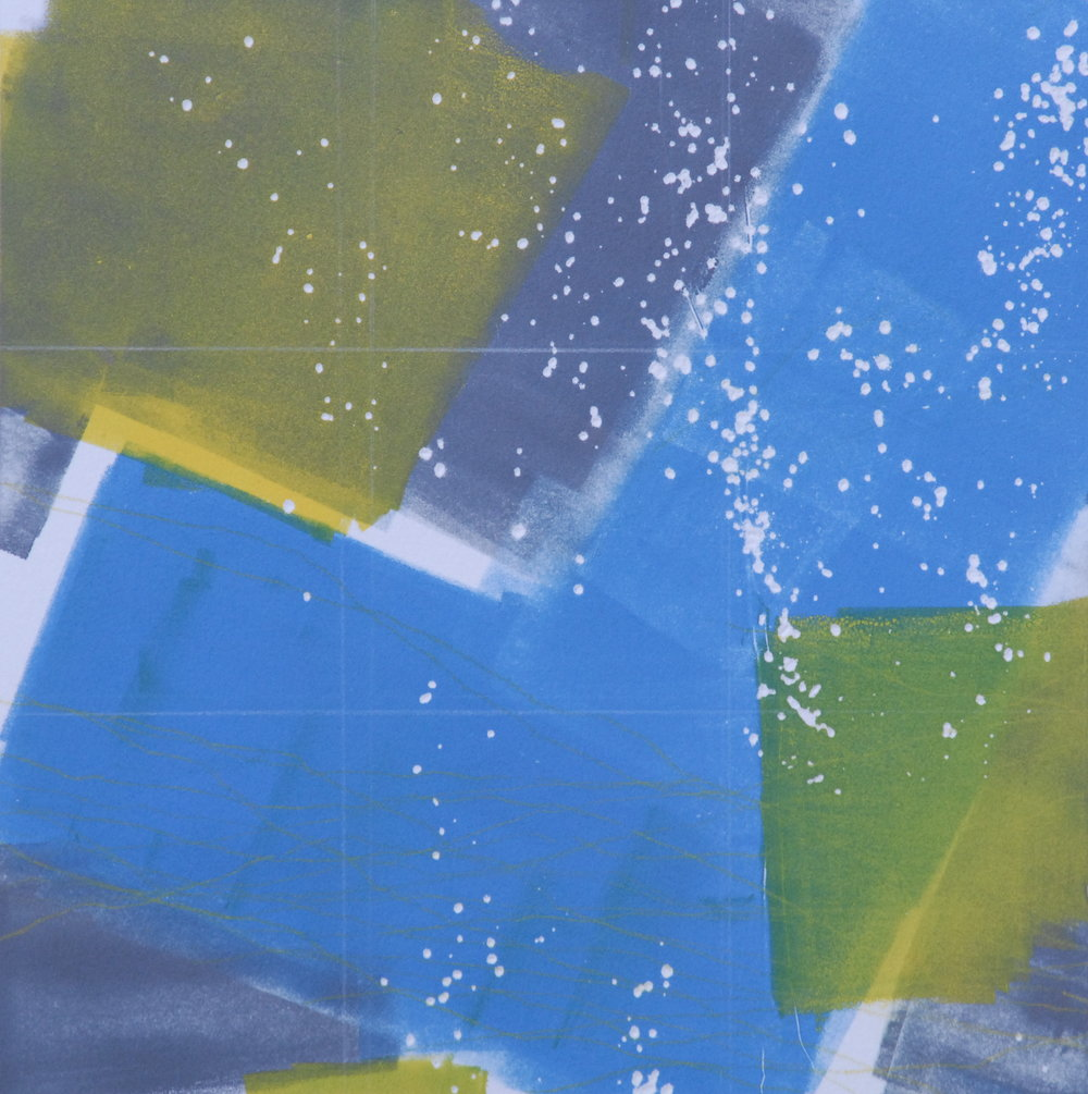 "Sodium Deviation 32, 2016  monoprint  10"" x 10"" image on 11"" x 14"" paper"