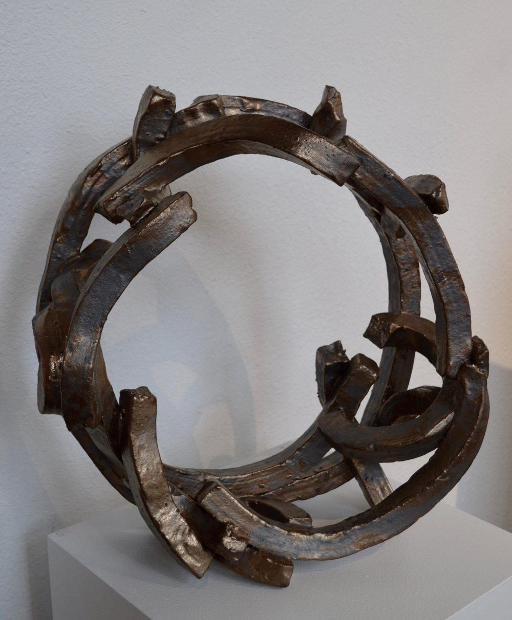 "Large Gold Hoop  stoneware  20"" x 22"" x 8"""