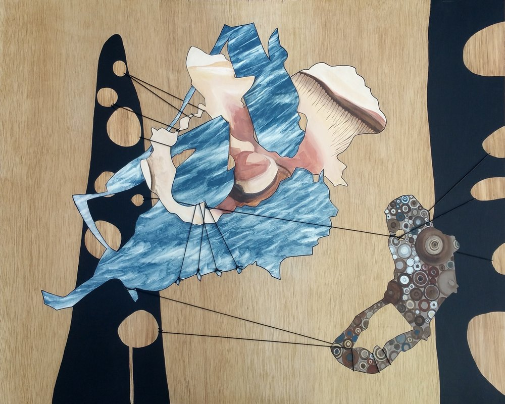 "Tug O' War  Acrylic and leather cord on sewn wood panel 32"" x 40"""